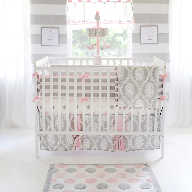 Pink and Grey Baby Bedding Pink Baby Bedding